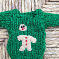Half-eaten Gingerbread Man Ornament, Mini Sweater with broken ginger bread man, Holiday party favors, Funny gifts for kids gag gift handmade