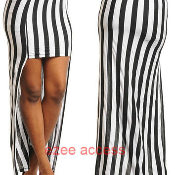 SeXy WoMeNS SKiRT FiTTed FuLL LeNGTH Hi Lo HiGH LoW STRiPeD LoNG MaXi SKiRT S-L