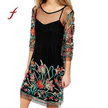 Womens Boho Vintage Lace Mesh Sheer Embroidered Floral Party Mini Dress