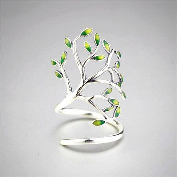 Womens Tree of Life Wrap 925 Sterling Silver Ring Glaze Leaves Open Adjustable Style Rings