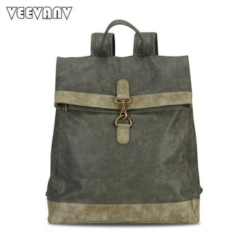 2017 Vintage Canvas Women Backpacks Female Fashion Designer Leather School Laptop Backpack for Girls Travel Shoulder Bag Ladies