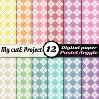 Digital Paper Argyle, diamond PASTEL | Scrapbooking | 12x12 - A4 | Green, blue, red, plum, pink, yellow, brown, orange