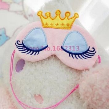 Lovely Pink/Blue Crown Eyeshade Eye Cover Sleeping Mask Travel Cartoon Long Eyelashes Blindfold Gift For Women Girls New 2016