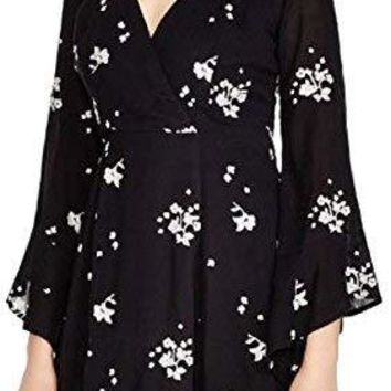 Free People Women's Rayon Gauze Emmas Embroidered Dress Black Combo X-Small