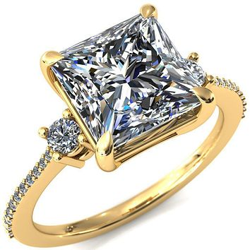 Bonnie Princess/Square Moissanite 4 Claw Prong 2 Rail Basket Round Sidestones Inverted Cathedral Diamond Accent Engagement Ring