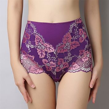 2018New Pattern Women's Panties High Waist Cotton Underpants Ma'am Sexy Lace Briefs