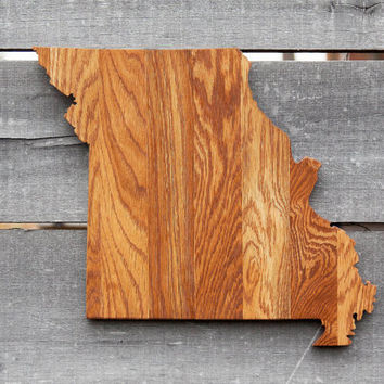 Missouri state shape wood cutout wall art handcrafted from repurposed Oak flooring 14 x 17 in. Wedding Housewarming Cabin Rustic Gift Decor