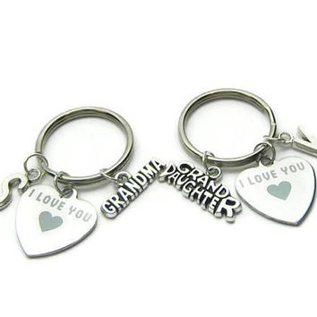 Gramma And  Grand Daughter Keychains, I Love You  Keychains,  Keychain For Grandma, Keychain For Grand Daughter, Personalized