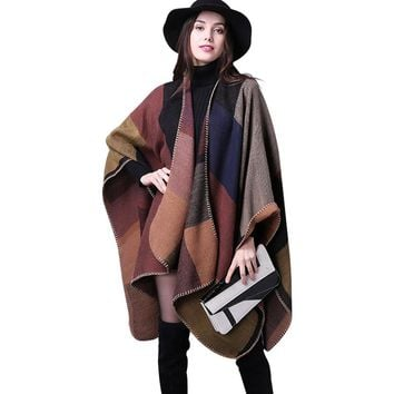 2016 Women Poncho Cotton Loose Ladies Outerwear Long Cashmere Wool Scarf Plaid Cardigans Sweater Cape Block Check Blanket Poncho