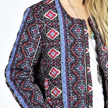 Shauna Paisley Print Quilted Bomber Jacket