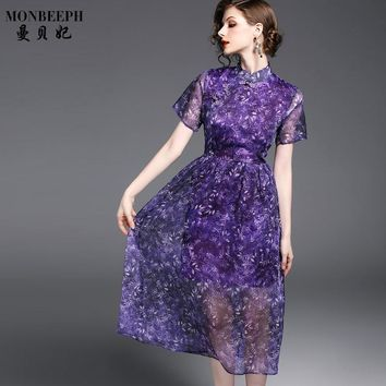 2017 New brand Style Casual Fashion Women Clothing short sleeves Slim Silk Chiffon Printing dress Large Swing long Dress female