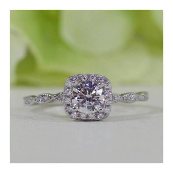 Sterling Silver 0.50 ct Art Deco Style Halo Cushion Round CZ Engagement Ring
