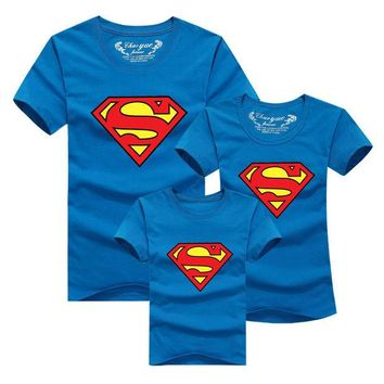DCCKWQA Family Matching Clothes Parent Kids Look Superman T Shirts Summer Father Mother Kids Cartoon Outfits New Cotton Tees Free Drop