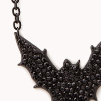 Rhinestoned Bat Pendant Necklace