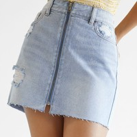 PacSun Zip Front Skirt at PacSun.com - light indigo | PacSun