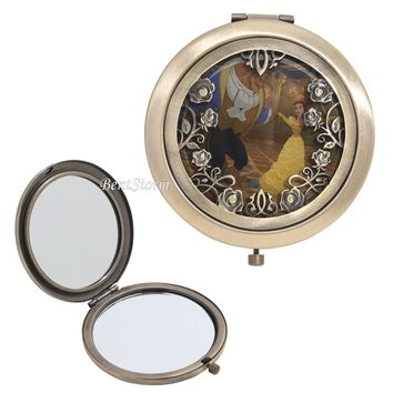 Licensed cool Disney Beauty & Beast Belle Dancing Die-Cut Floral Rose Hinge Compact Mirror NEW