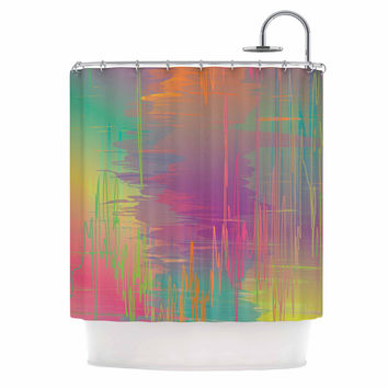 "Graphic Tabby ""Rainbow Storm"" Multicolor Abstract Shower Curtain"