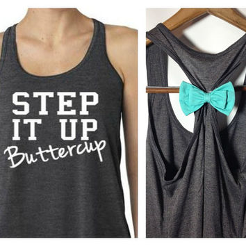 Mor Colors, Bow Tank Top, Step It Up Buttercup, Womens Workout Tank, Fitness Tank, Cute Tank Top, Gym Tank, Running Shirt
