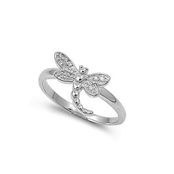 925 Sterling Silver CZ Dragonfly Ring 12MM