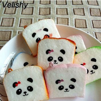 Velishy 1PC  Kawaii Sliced Squishy Bread Soft Toast Phone Straps Bag Parts & Accessories Cute Squishy Bear Printed Key Chains