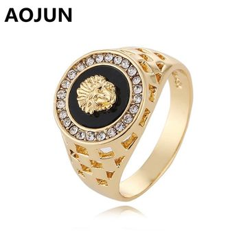 AOJUN 2017 Vintage Male Gold Stainless Steel Lion Head Ring For Men Wedding Engagement Rings Punk Rock Biker Men's Ring Jewelry