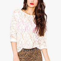 FOREVER 21 Floral Lace Top Cream