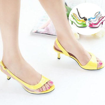 Big size 34-43 Fashion Vintage Mid Heel Gladiator Less Platform Open toe Sandals Thin Heel Summer Shoes for Women