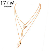 Bohemia Multilayer Chain Triangle Pendant Necklace Punk simulated Pearl Jewelry Body Chain Necklaces For Women  Collier collares
