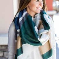 Hold On Stripe Blanket Scarf - Green