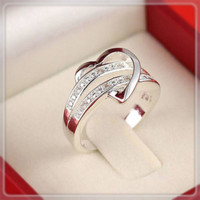 925 Sterling Silver Heart Wedding Ring-Just 1Cent plus shipping Sizes 6,7,8,9