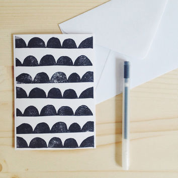 Geometric Card Hand Printed with Linocut Eco-Friendly Greeting Card Black and White