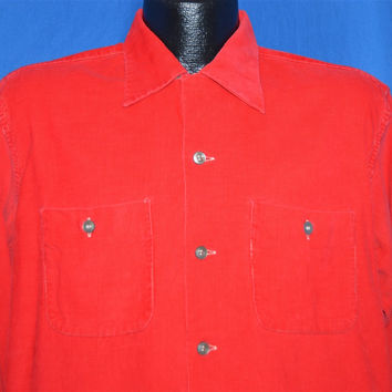 50s Richmond Brothers Red Corduroy Rockabilly Shirt Large
