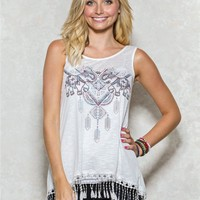 Elephant Fringe Graphic Tank