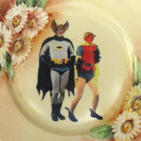 Batman and Robin - BFF Portrait - Altered Vintage Plate 8.5""