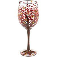 Fall Tree with Leaves Painted Wine Glass