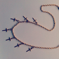 golden  multi cross necklace