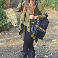 In The Breeze Cardigan: Olive/Black