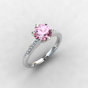 Pink spinel ring, light pink gemstone, Diamond ring, solitaire, engagement ring, Spinel engagement, pink, unique