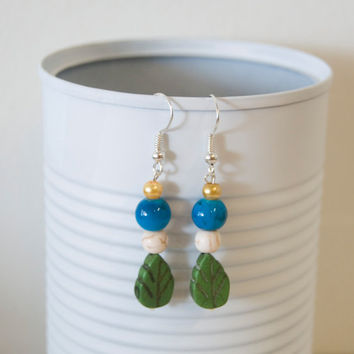 Handmade Silver Plated Hypo-Allergenic Dangle Bead Earrings Earth Clouds Sky Sun Hippie Earthly Protect Our Environment