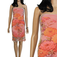 Coral Pink Photorealistic Floral Mesh Slip Dress 90s Vintage Stretchy Short Bodycon Summer Boho Chic Hipster Clothing Womens Size