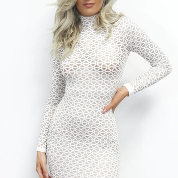 Stay True Nude & White Rhinestone Dress