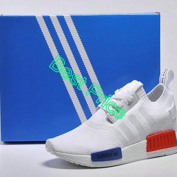 2018 Purchase Women Adidas original NMD Runner 2016 GS Summer Vintage White Red Blue newest sneaker