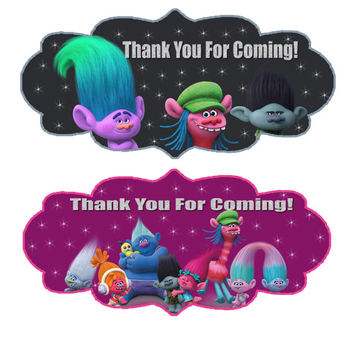 Trolls Thank You For Coming bag labels. Trolls party, trolls, troll, bag labels, birthday bag labels, trolls theme, trolls bag. Girl and Boy