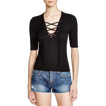 Aqua Womens Ribbed Lace-Up Casual Top