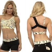 Brazilian Activewear-Sexy Workout Clothes Equilibrium Bra Top T412 Tiger