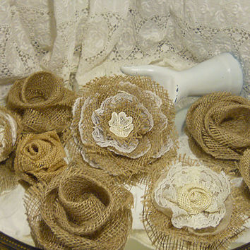 Set of 8, Large Handmade Burlap Flowers for weddings, bouquet making, wedding decor. Take 10% off with coupon code 10Percent!