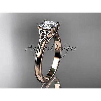 14kt rose gold celtic trinity knot wedding ring, engagement ring CT7154