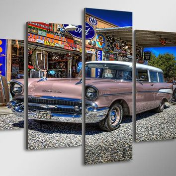 1957 Chevy Nomad with Graffiti Wall  canvas wall panel print picture on canvas