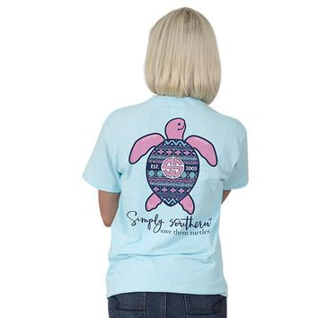 "Youth Simply Southern Turtle ""Ikat"" Short Sleeve Tee"