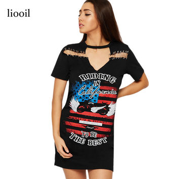 Liooil Rock And Roll Pattern Print T Shirt A Line Dress Summer Sexy Hollow Out Pin Short Sleeve O Neck Vintage Mini Women Dress